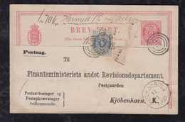 Dänemark Denmark Ca 1880 Stationery Card Uprated For Parcle Card Usage POSTSAG RUDKJOBING Rudkobing - 1864-04 (Christian IX)
