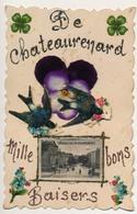 """CPA Fantaisie - CHATEAURENARD (B Du R) - Trèfle Et Oiseaux Collés, Relief. Petite Vue """"Rue Du 4 Septembre"""" - Chateaurenard"""