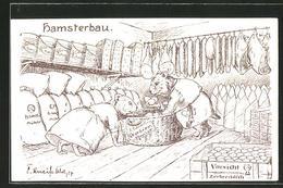 CPA Illustrateur Hamsterbau, Vermenschlichte Tiere - Oorlog 1914-18