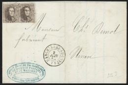 L Affr N°14 X2 Lpts 238 MARCHIENNE-AU-PONT/1865 Pour Ninove - 1863-1864 Medallions (13/16)