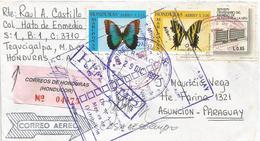 Honduras 1997 Tegucigalpa Butterfly Emperor Morpho Peleides Zebra Swallowtail Protographium Marcellus Registered Cover - Vlinders