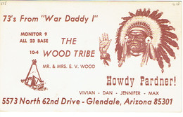 Indian Chief + Teepee Tipi On Old QSL From The Wood Tribe, North 62nd Drive, Glendale, Calif USA, Apr 1967 - CB