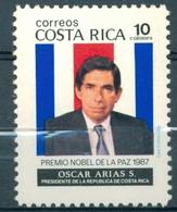 Costa Rica - 1987 - Yt 494 - Hommage Au Président Oscar Arias Prix Nobel De La Paix - ** - Costa Rica