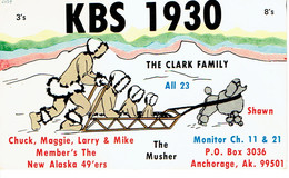Sledge + Dog On Old QSL From The Clark Family, KBS 1930, Anchorage, Alaska, USA, Year 1970 - CB