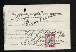 1d Voortrekker Monument On Receipt For Adult Grave In Cemetery Of Dutch Reformed Church, Cradock - South Africa (...-1961)