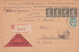 Env Reco Contre Remboursement Affr Y&T 111 + 193 X 4 Obl VENDENHEIM Du 12.5.26 Adressée à Strasbourg - Postmark Collection (Covers)