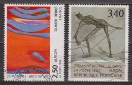 Europa, Art Sculpture: Le Griffu, G. Richier - FRANCE - Peinture: Olivier Debré: Rouge Rythme Bleu - N° 2797-2798 - 1993 - France