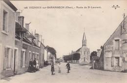 VIGNOUX-sur-BARANGEON - Route De Saint-Laurent - Eglise - Commerce - Animé - TBE - Frankreich