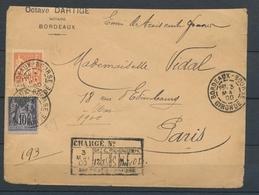 1900 Lettre SAGE à 50c Chargé De Bordeaux Pr Paris Superbe. P2657 - Marcophilie (Lettres)