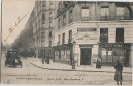 CPA 75 PARIS XX Place Gambetta à L'avenue Gambetta Banque Société Générale Agence A-U - Arrondissement: 20