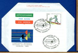 ITALIA - Aerogramma FDC  - CAMPIONATI MONDIALI GIOVANILI DI SCHERMA - VENEZIA 1980 - 1946-.. République