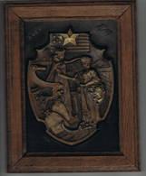 1914-1917 Honneur Aux Americains Securant La Belgique Plaque Metallique 24 Cm Sur 18 Cm - 1914-18