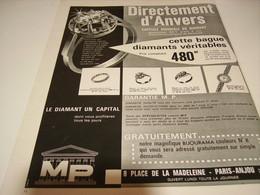 ANCIENNE PUBLICITE DIRECTEMENT D ANVERS DIAMANT MP 1962 - Jewels & Clocks