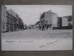 Cpa Waremme - Rue De La Station Gare - Hotel Du Chemin De Fer Scotch Ale - A. Moureau Imprimeur - Waremme