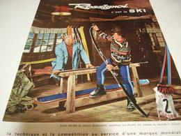 ANCIENNE PUBLICITE ROSSIGNOL C EST LE SKI CONTROLE PAR E.VALAIS ET A.DUVILLARD 1962 - Sports D'hiver