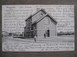 Cpa Waremme - Station Gare Vicinale - Salle D'attente Chemin De Fer - 1903 - Moureau Imprimeur - Waremme