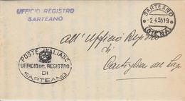 Sarteano. 1955. Annullo Guller SARTEANO (SIENA) + Ovale UFFICIO REGISTRO, Su Franchigia Completa Di Testo - 1946-60: Storia Postale