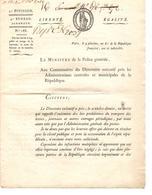 Lettre Ministère De La Police Générale 2°div.4°bureau Journaux Paris 4 Pluviôse An 6 (23/1/1798) Signé Sotin 1835 - Decrees & Laws