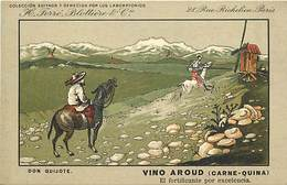 - Thèmes -ref-W9329- Publicite Vino Aroud - Ferre Blottiere & Cie - Paris - Don Quijote - Don Quichotte - Espagne - - Publicité