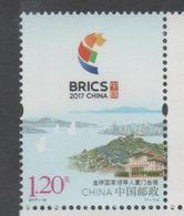 CHINA, 2017, MNH, BRICS MEETING, BIRDS STYLIZED, LANDSCAPE,  1v - Stamps
