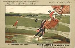 -thèmes -ref-W9327- Publicite Vino Aroud - Ferre Blottiere & Cie - Paris - El Globo - Mongolfiere  - Espagne - - Publicité