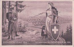 Armée Suisse, Occupation Des Frontières, Helvétia Et Sentinelle, Litho (26.11.14) - Weltkrieg 1914-18