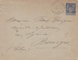 Lettre Narbonne Aude 1891 Bourges Cher Enveloppe Entier Postal Type Sage Tours Gare Indre Et Loire - Marcophilie (Lettres)