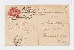 Sur Carte Postale De Crocq Type Semeuse 10 C. CAD Crocq Creuse 1918. CAD Destination Fontenay Le Comte. (2779) - 1877-1920: Periodo Semi Moderno