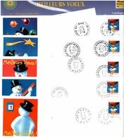 FRANCE 1996 ENTIERS YT N° 3039-E1/3039-E5 SERIE DE 5 ENVELOPPES MEILLEURS VŒUX Oblitérée - Neufs