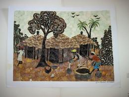 Tableau Composant Une Scène Africaine Devant Les Cases En Ailes De Papillons Signé 2005 Magnifique T.B.E. Sur Carton - African Art