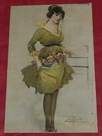 Bisi :: Illustrateurs - Femme - Fleurs - Robe - Signer   ---------- 462 - Illustrateurs & Photographes