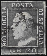 ITALIE Sicile N°23 Obl,  20 Grana TTB Signé Scholl - Sicilië