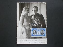 CARTOLINA POST CARD MONACO MATRIMONIO PRINCIPE RANIERI 1956 RRR RIF. TAGG (188) - Monaco