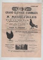 Elevage Animaux Basse Cour Maigre D'Allais Mâcon Pigeon Poule Canrd Oie Pintade Dindon 1923 1924 - Publicités