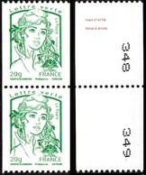 France Marianne De La Jeunesse Par Ciappa Et Kawena N° 4778,P ** Roulette Le 20 Grammes Vert Verso N° à Droite En Paire - 2013-... Marianne De Ciappa-Kawena