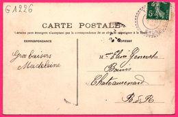 CAD Type B2 YZERON Triple Cercle - Yzeron - Vue Prise De La Terrasse De L'Hôtel Berger - Animée - D.P. - 1909 - Marcofilie (Brieven)