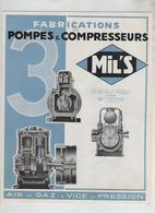 Publicité  Fabrication Pompes Et Compresseurs Mil's Air Gaz Vide Pression Lyon Route D'Heyrieux - Sciences & Technique