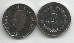 El Salvador  5  Centavos 1991.  UNC - Salvador