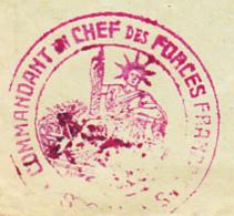 """Cachet Double Couronne """"Commandant En Chef Des Forces Françaises"""" Circ 1945 Sur Enveloppe, Posté à Colmar (68) - Guerre De 1939-45"""