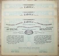 "Roumanie Romania Rumänien 1922 Action / Share "" ZABOLA Industria Forestiera   "" 200 Lei  - 3 Consecutives N° - Shareholdings"