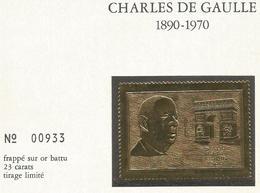 CHARLES DE GAULLE : 1890 1970 , FRAPPE SUR OR BATTU 23 CARATS , TIRAGE LIMITE - Francia