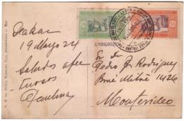 Carte Senegal Oblitération Martimite Piroscafi Abruzzi Pour L'Uruguay Rare - Sénégal (1887-1944)