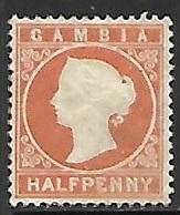 Gambia   1880   Sc#5   1/2c Victoria  MH*   2016 Scott Value $19 - Gambia (...-1964)