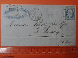 355 CODOGNAN (Gard) Cad T15 + PC 897 Sur N°14 Napoléon III Superbe Du 17 Juillet 1858 Bourgoin (Isère) Cote 70€ - Marcophilie (Lettres)