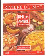 Etiquette  RHUM  Ambré - RIVIERE Du MAT - 40° 70 Cl -Ste Suzanne - Ile De La REUNION - - Rhum