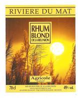 Etiquette  RHUM  Blond, Agricole Maturé - RIVIERE Du MAT - 40° 70 Cl - Ste Suzanne - Ile De La REUNION - - Rhum