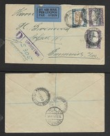 S.Africa 1s4d,  Air Mail Cover Registered UPINGTON 2 JAN 34 > EMMERICH13. I. 34 - South Africa (...-1961)
