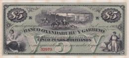 Banco Oxandaburu Y Garbino . 5 Pesos Bolivianos 1869 Alphabet-Série: 32973. - Argentine