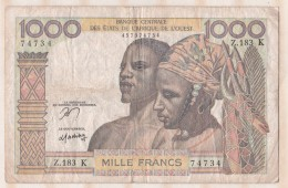 Billet BCEAO  1000 Francs  , Alphabet Z.183 K ,n° 74734 - Westafrikanischer Staaten