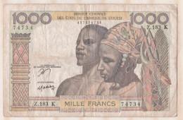 Billet BCEAO  1000 Francs  , Alphabet Z.183 K ,n° 74734 - West-Afrikaanse Staten